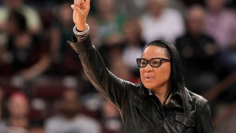 South Carolina head coach Dawn Staley is seen during the Duke game on Sunday, Dec. 3, 2017 in...
