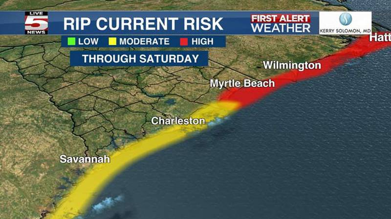 There is a moderate rip current risk through Saturday from Charleston County to the southern...