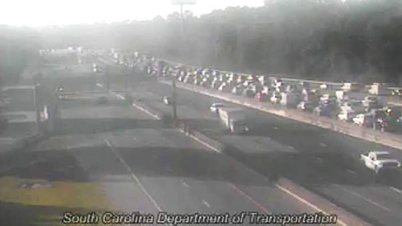 Two right eastbound lanes near the Ashley Phosphate Road exit at mile marker 209 were blocked...