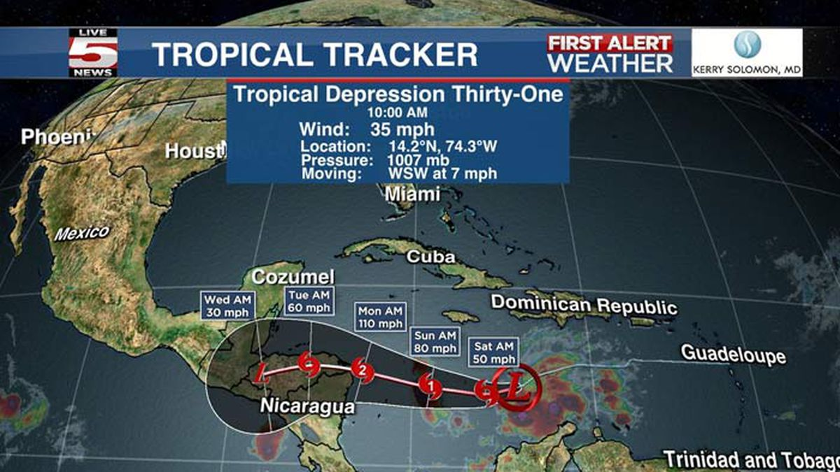 The season's 31st tropical depression formed Friday morning and is expected to strengthen into...