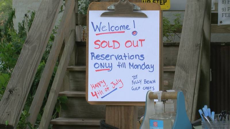 Whitney Hanna works at Folly Beach Golf Carts and says they've sold out, which is something...