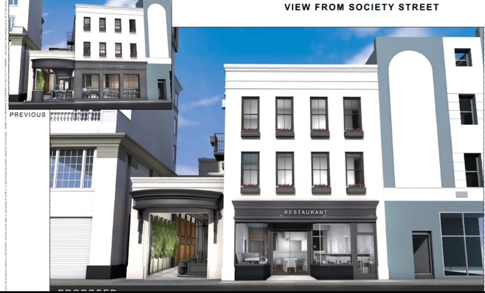 The drawings indicate the hotel would be three stories, with a marquee and rooftop garden.