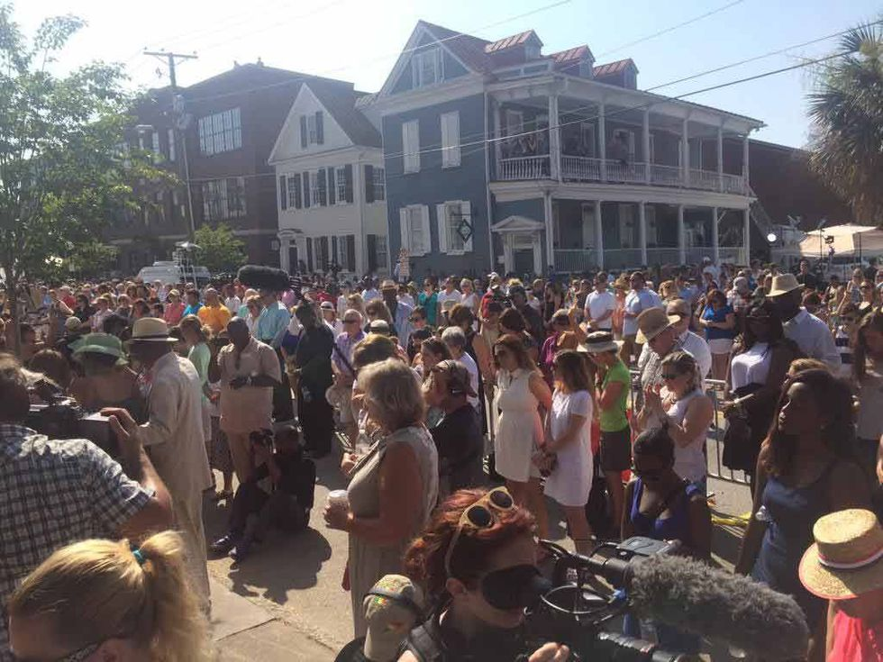 An overflow crowd gathered outside Emanuel AME Church in Charleston. (Photo Source: Live 5)