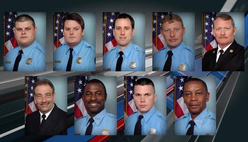 The Charleston 9: Firefighter Brandon Thompson, Engineer Brad Baity, Capt. Louis Mulkey,...
