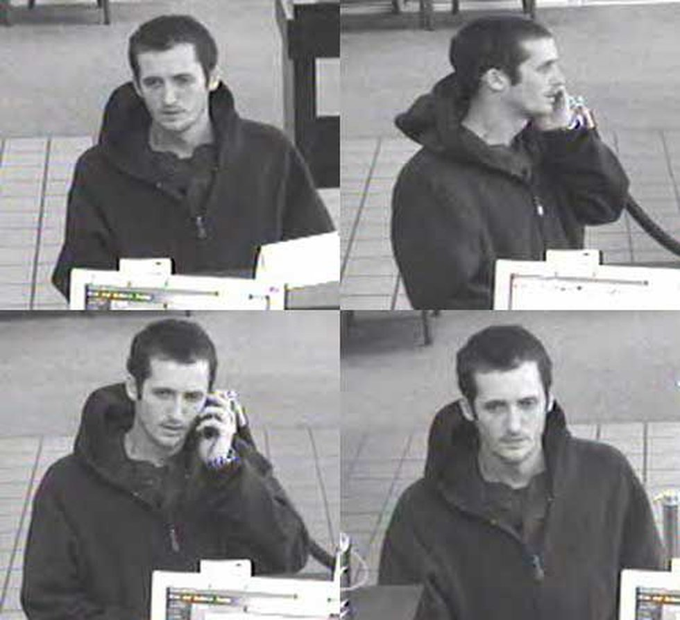 Surveillance pictures of the bank robbery suspect.