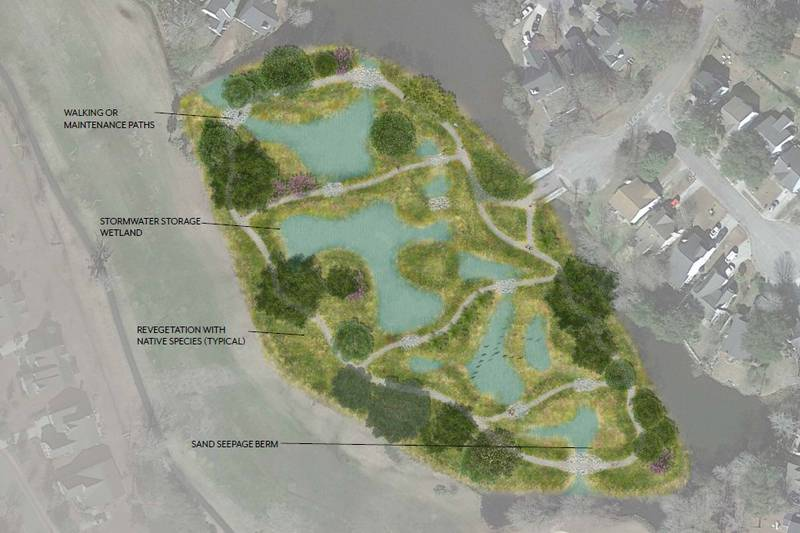 Concept rendering for the Ecological Park approach at Bridgepointe.