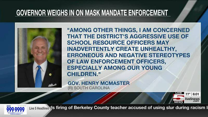 Charleston Co. schools says SROs are not asked to enforce mask mandate in response to gov's...