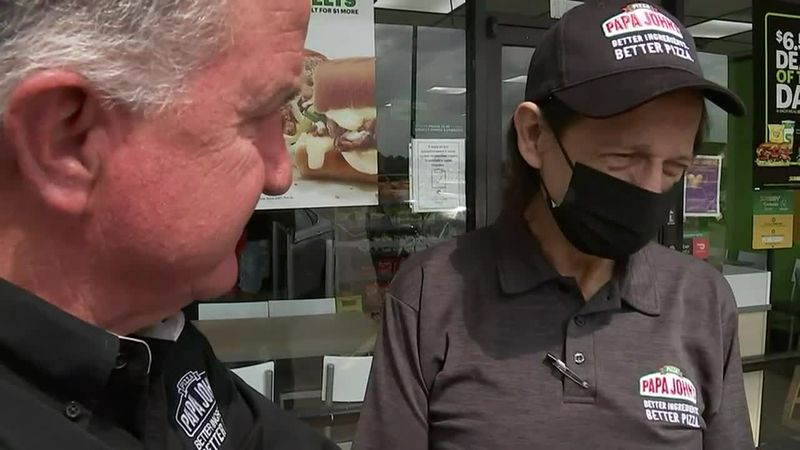 The delivery driver, who has been working for Papa John's for 15 years, was in disbelief as the...