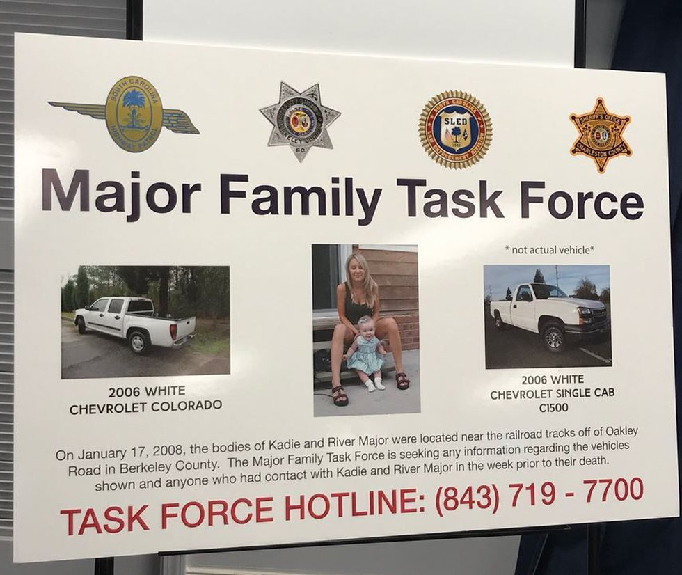 A poster shows a photo of the Majors and information about trucks which may have been involved...