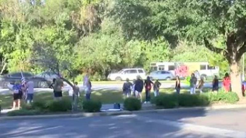 More than 50 people gathered in North Charleston to protest against Boeing's mask mandate.