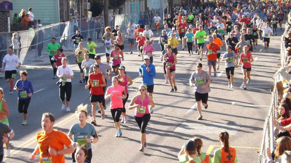 Runners during the Cooper River Bridge Run.