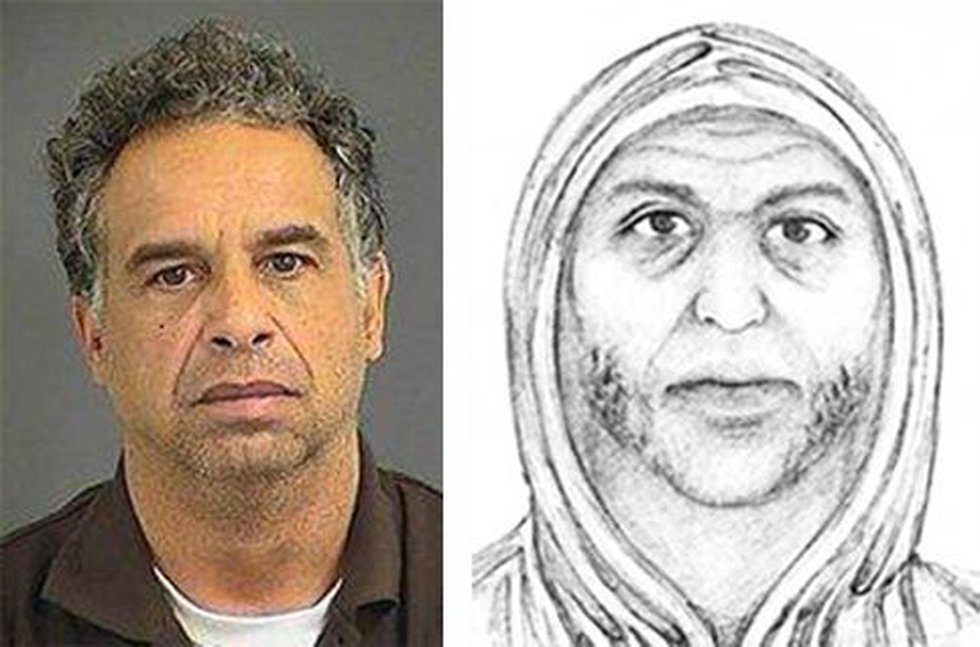 Arson suspect Kenneth Boone, compared to a sketch released by police.