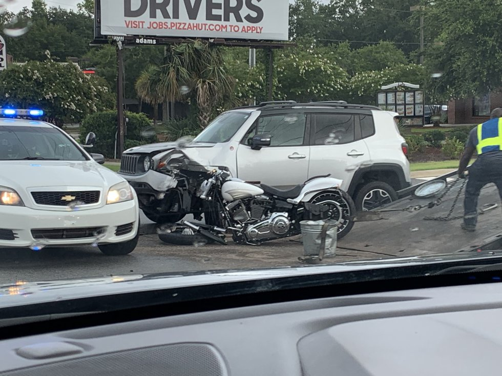 Reports show the damaged motorcycle right before the entrance of a Taco Bell located at 1024...