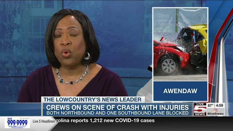 VIDEO: Vehicle crash involving injuries affecting traffic on Highway 17 in Awendaw