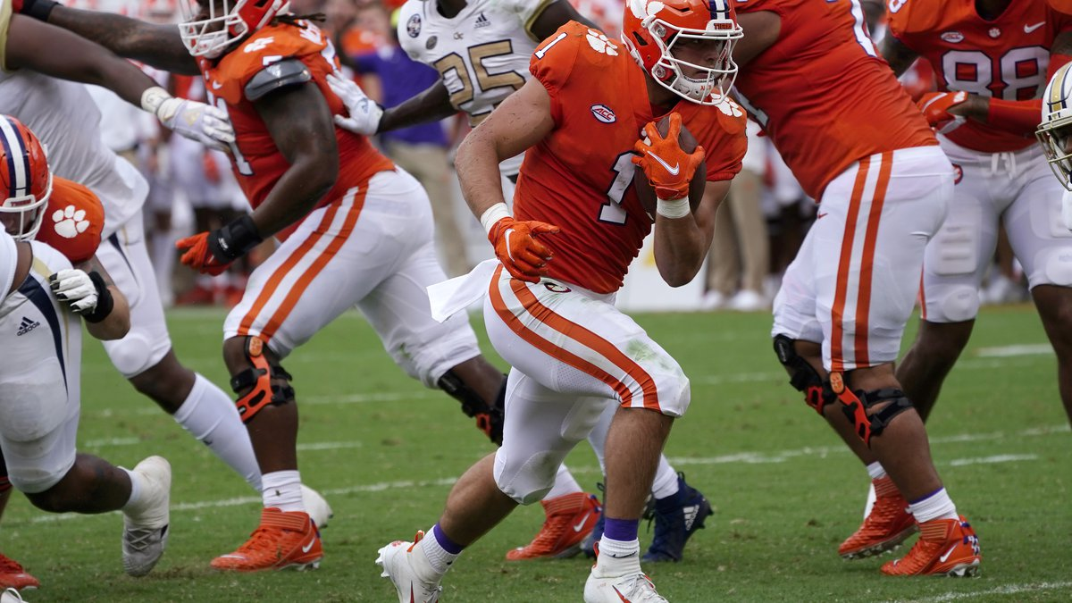 Clemson running back Will Shipley (1) runs for a touchdown in the first half of an NCAA college...