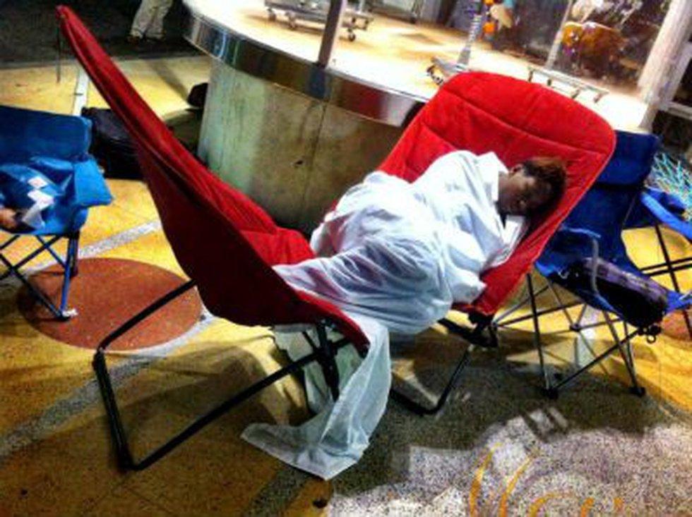 One shopper sacks out overnight.