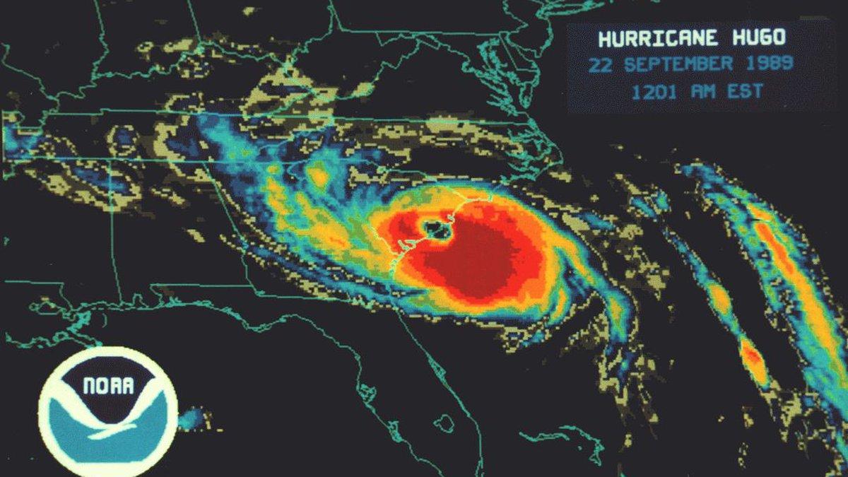 A radar image of Hurricane Hugo taken at 12:01 a.m. on Sept. 22, 1989. (Source: NOAA)