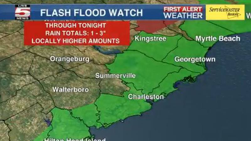 A flash flood watch remains in effect until midnight for Beaufort County. The flash flood watch...