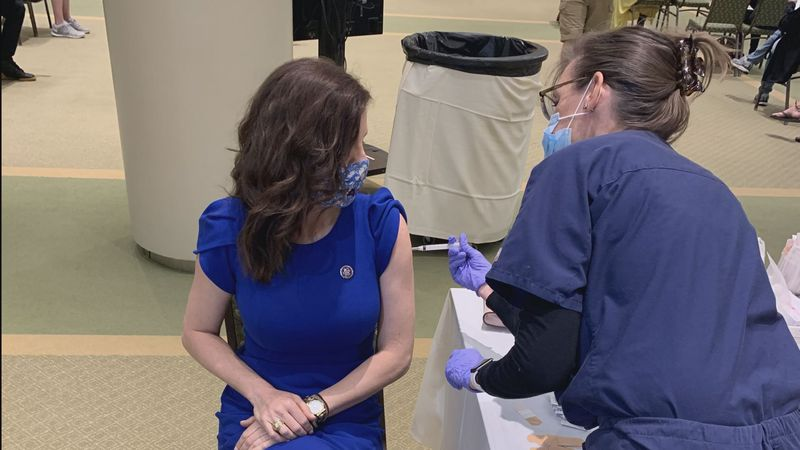 Representative Nancy Mace received her first COVID-19 vaccine in North Charleston on Tuesday...