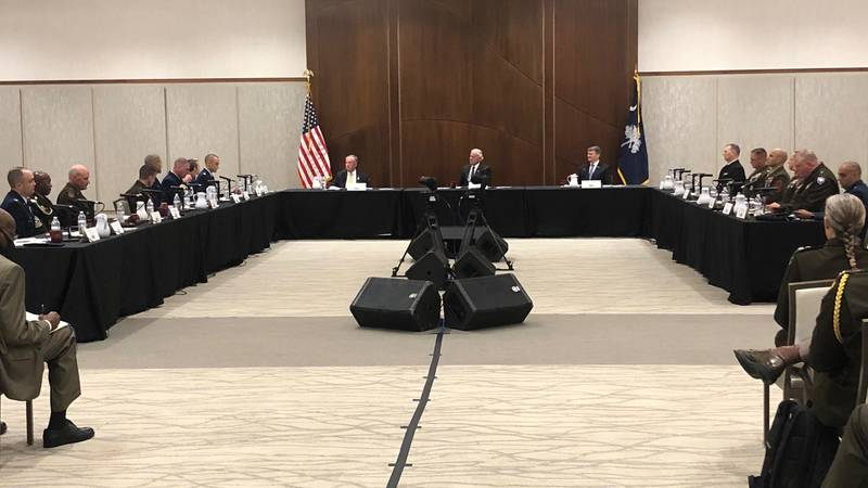 Gov. Henry McMaster meets with the state's military installation commanders during an annual...