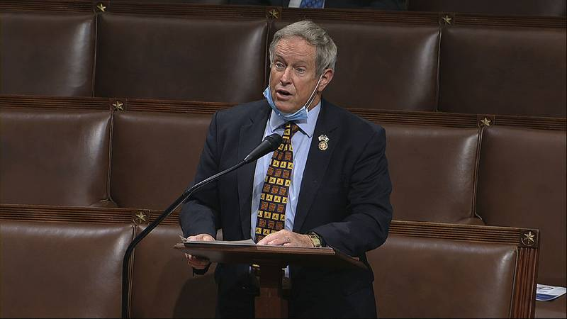 In this image from video, Rep. Joe Wilson, R-S.C., speaks on the floor of the House of...