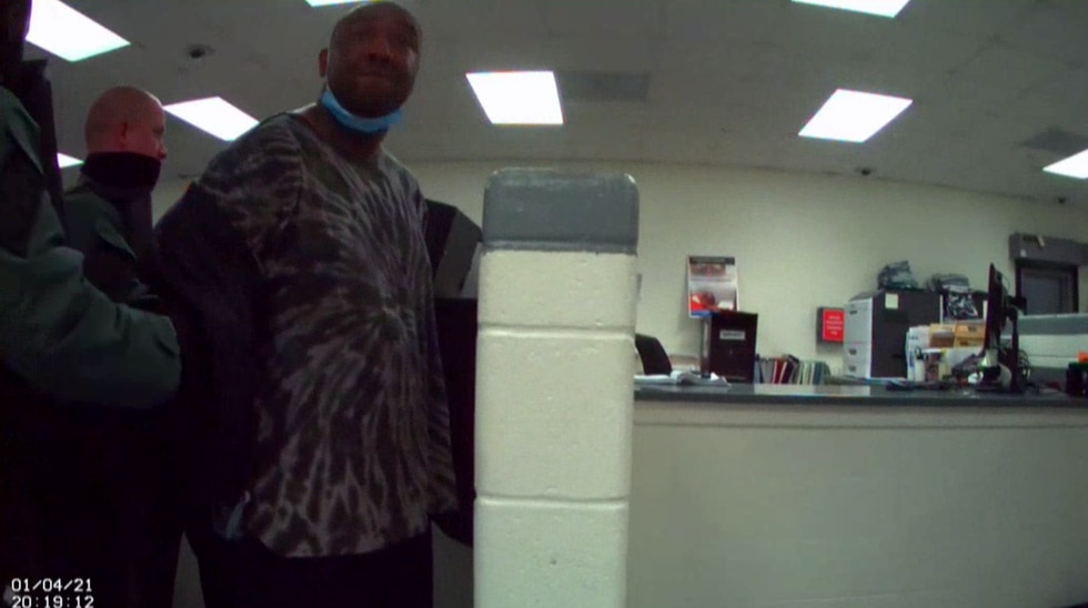 The jail surveillance video begins by showing Jamal Sutherland arriving at the Al Canon...