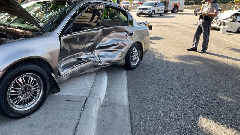 Emergency crews responded to a two-vehicle accident on Trask Parkway by Roseida Road Sunday...