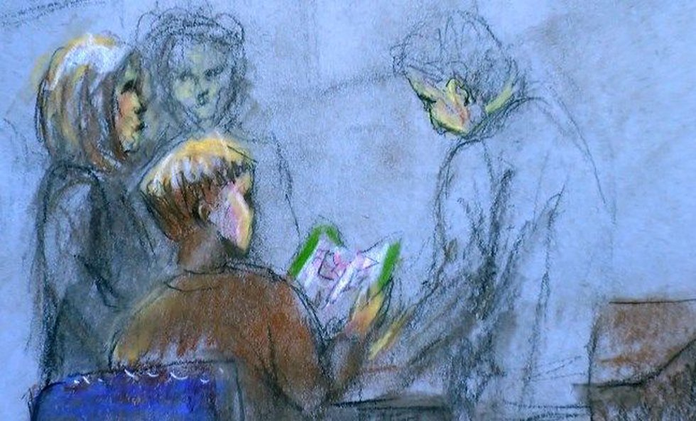 Roof reviewing evidence before Monday's hearing. (Sketch: Robert Maniscalco)