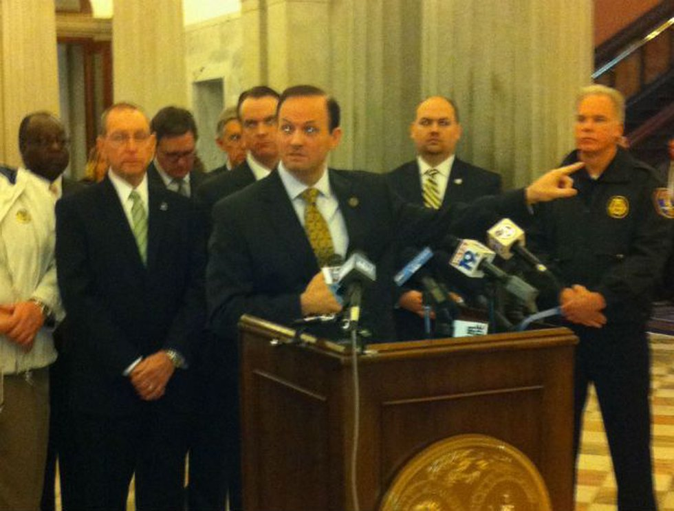 Attorney General Alan Wilson at Tuesday's press conference in Columbia.