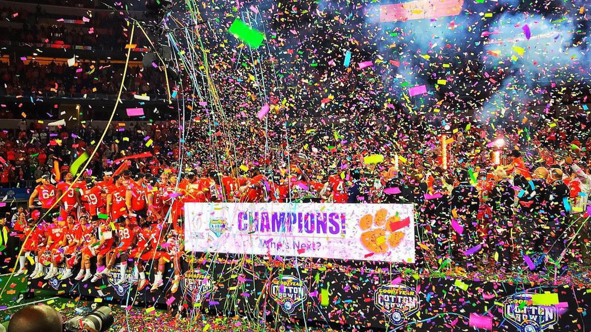 Clemson celebrates their semifinal win over Notre Dame in the Cotton Bowl Saturday in...