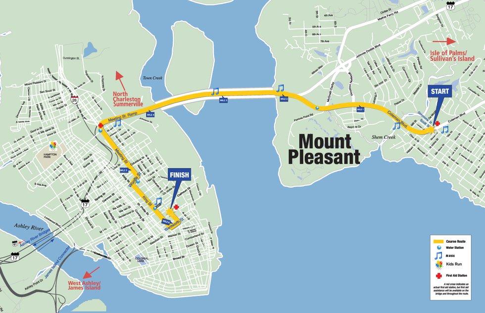The Cooper River Bridge Run goes from Mount Pleasant, across the Ravenel Bridge and into...