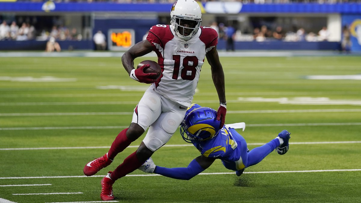Arizona Cardinals wide receiver A.J. Green (18) runs after a catch during the second half in an...