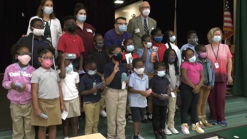 Students at Sanders-Clyde Elementary School receive glasses through Vision to Learn