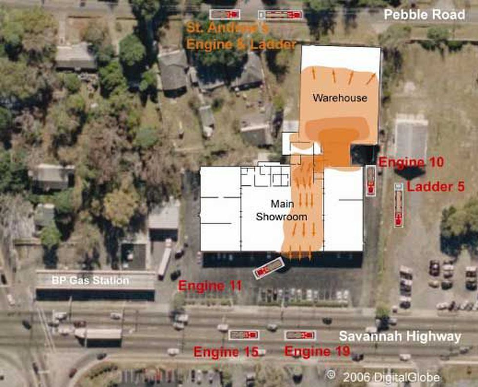 Aerial photo showing placement of fire personnel and spread of fire.