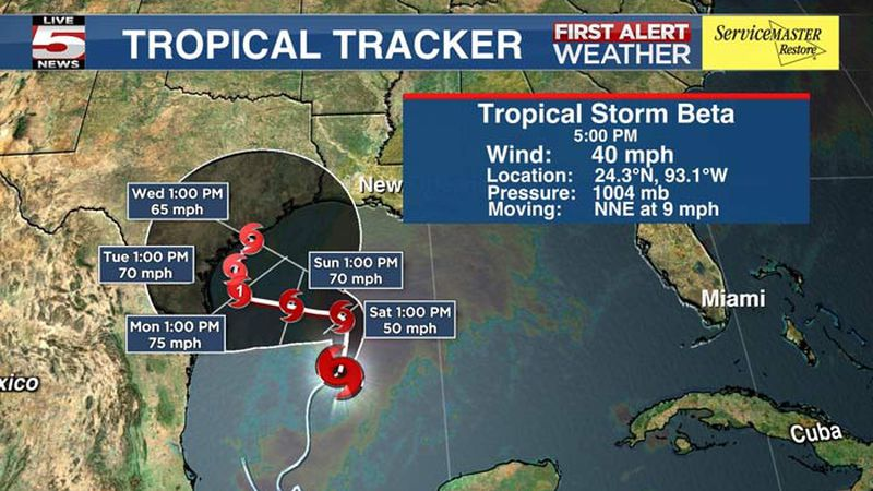 Tropical Storm Beta formed Friday afternoon in the Gulf of Mexico.
