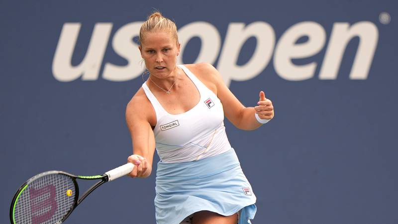 Shelby Rogers hits a forehand during a Women's Singles match at the 2021 US Open, Tuesday, Aug....