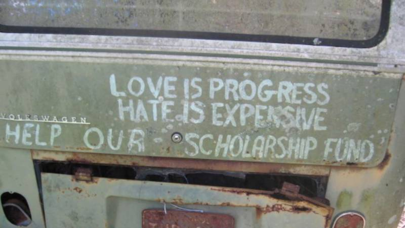 """Esau Jenkins was well known for a a bus with the message, """"Love is progress; Hate is..."""