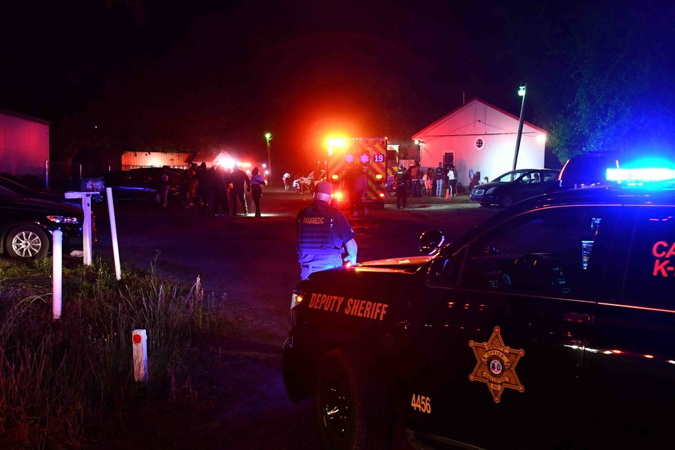 Emergency crews and law enforcement at the scene of the shooting at the nightclub in Colleton...