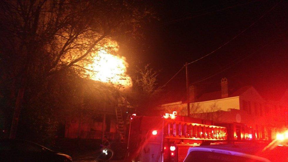 Fire on Spring Street Thursday morning. (Photo Source: Brent Hohman)