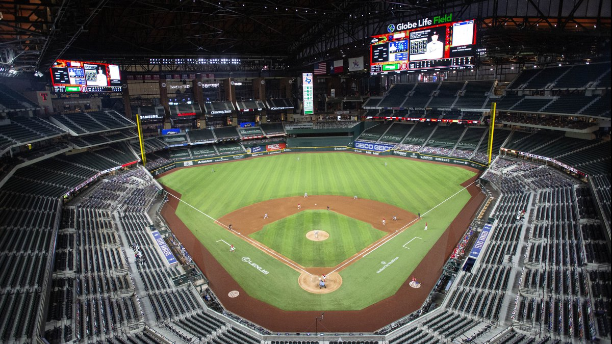 Globe Life Field is viewed during the fifth inning of a baseball game between the Texas Rangers...