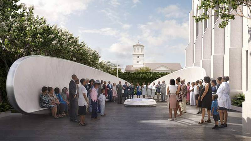 Plans for the Charleston Nine Memorial include fellowship benches and a fountain with names of...