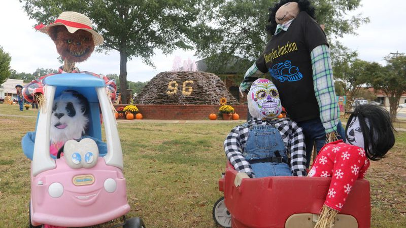 Scarecrows have taken over this small town.
