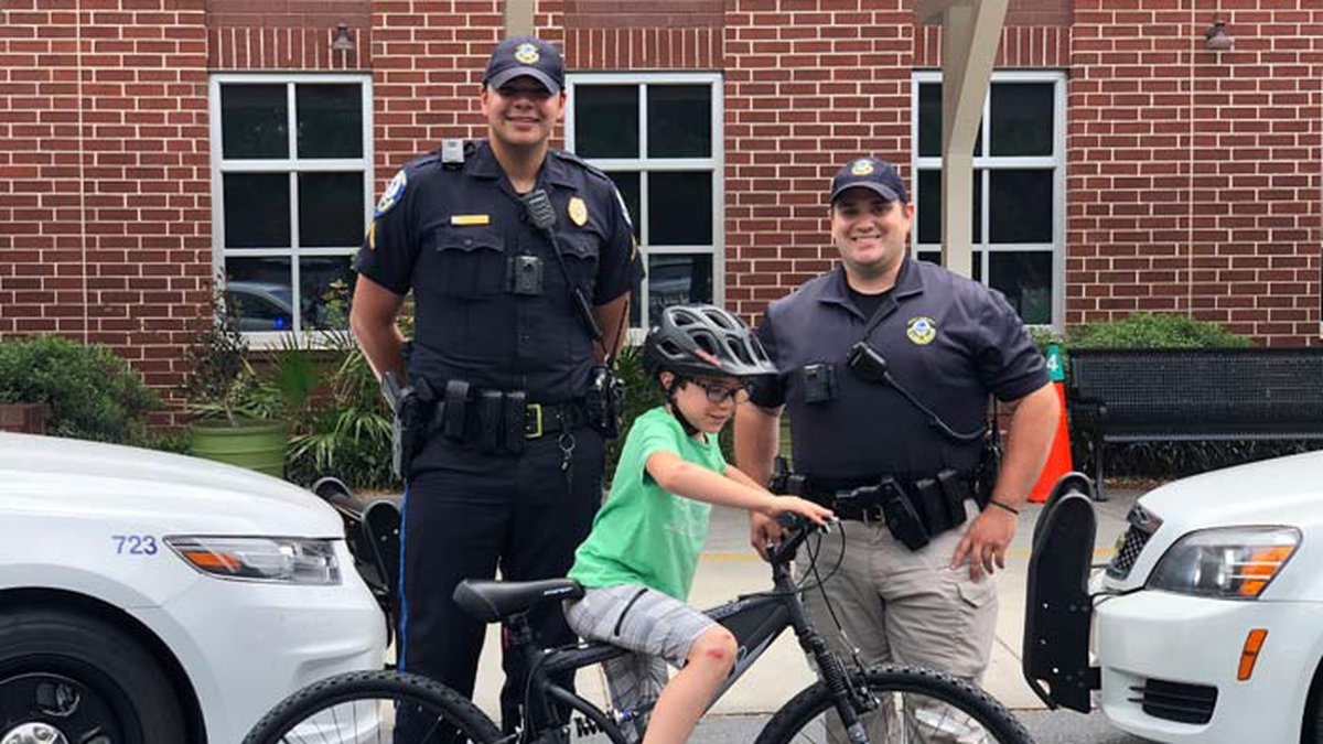 Mount Pleasant Police officers replaced the bike for a child who was injured in a hit and run...