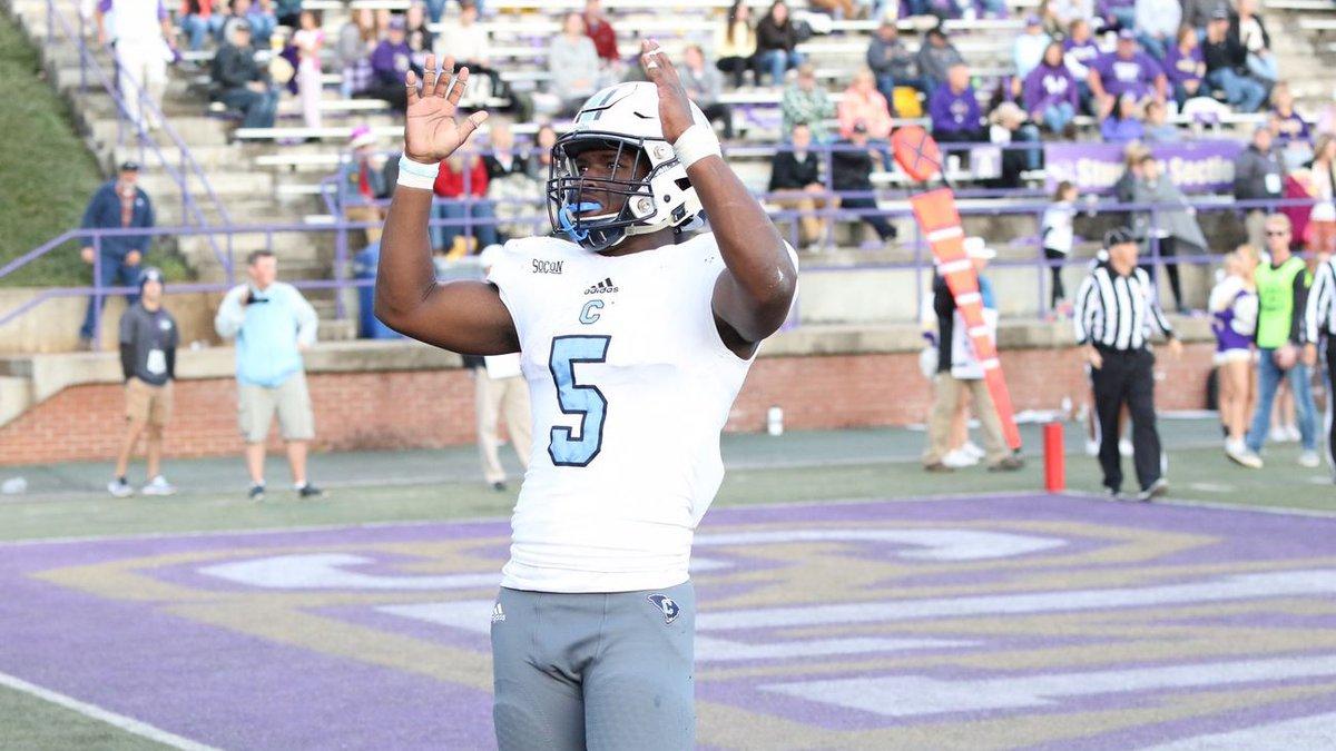 Clay Harris celebrates a touchdown versus Western Carolina Saturday. The Bulldogs beat the...