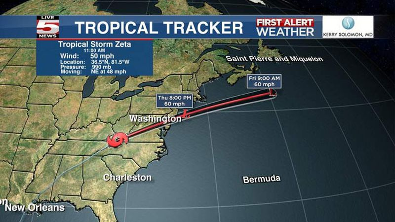 Tropical Storm Zeta continues to merge with a cold front today as it lifts off to north of...