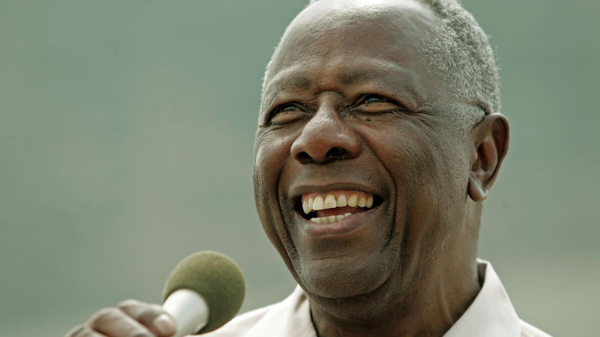 Baseball hall of famer Hank Aaron smiles as he speaks at a ceremony where a commemorative...