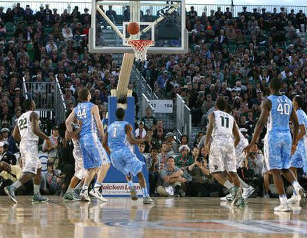 Michigan State and UNC face off in the 2011 Carrier Classic in San Diego. (Source:...