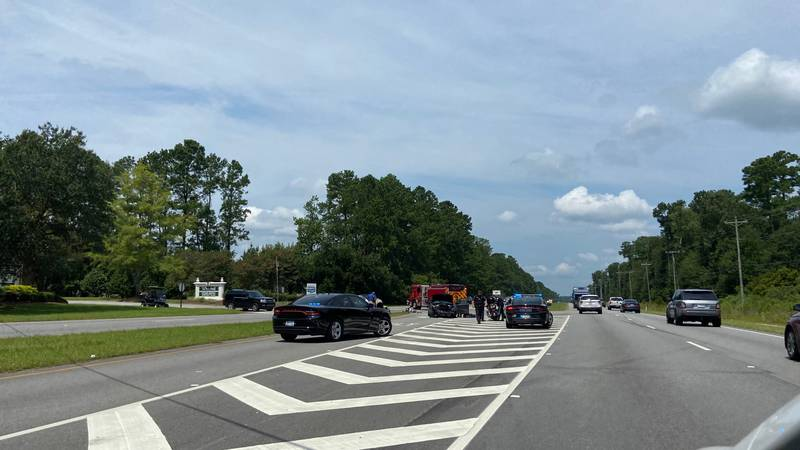 Reports say several North Charleston Police Department squad cars are at the scene of a crash...