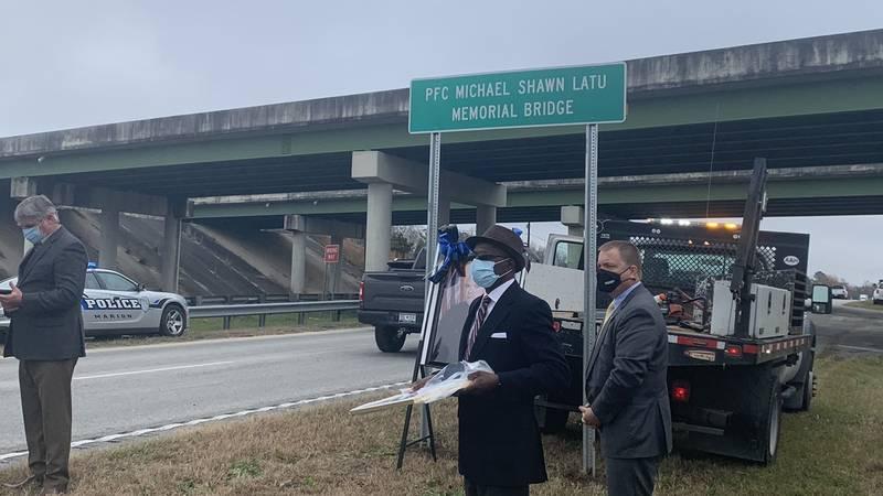 Leaders dedicated a bridge Thursday to Marion County Sheriff's Deputy Michael Latu on the...