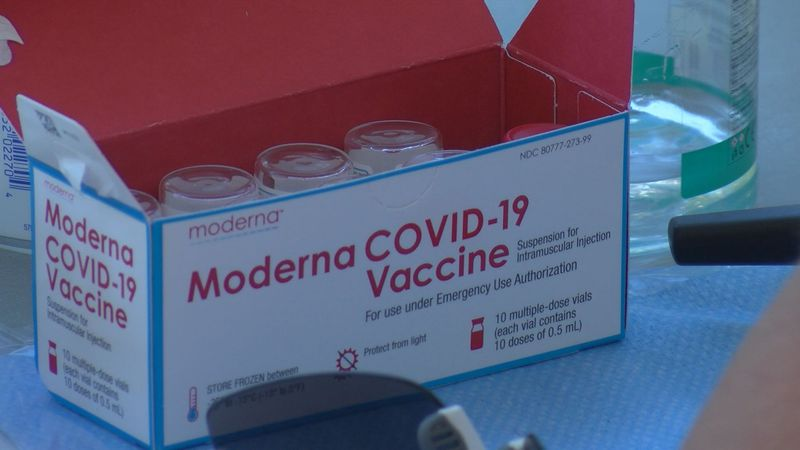 A vaccine clinic is set up at Haut Gap Middle School on Sunday delivering Monderna and Johnson...